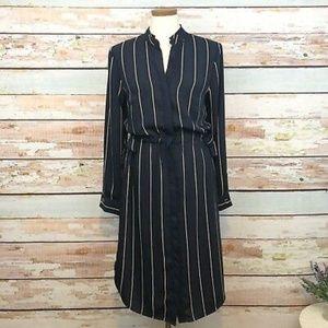 H&M '60s Navy Stripe Cinch Waist Shirt Dress